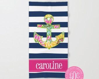 Monogram Beach Towels - Personalized Towel - Monogrammed  Preppy Anchor Towel - Bridesmaid Towel - Bachelorette Trip Favor - Pool Towel