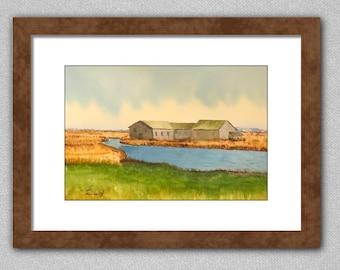 Original Watercolor Painting Farm Pond Barn