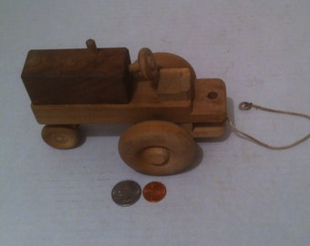 """Vintage Hand Made Quality 6"""" Big Rolling Working Farm Tractor, Rolling Wheels, Quality Made, Can Be Painted for Even More Fun, Shelf Decor"""