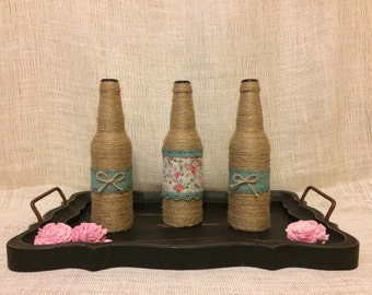 Twine Bottles, Decorative Bottles, Wedding Decor, Home Decor