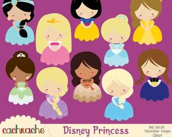 Disney princess clipart, Jasmine, Aurora, Snow white, Cinderella, Belle, Tiana, Rapunzel, Moana, Elsa and Anna PNG & JPG Instant Download