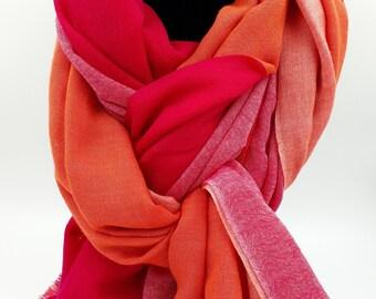 Pink Fuschia Orange Fancy Nancy Four Colour Pashmina Shawl 100% Cashmere