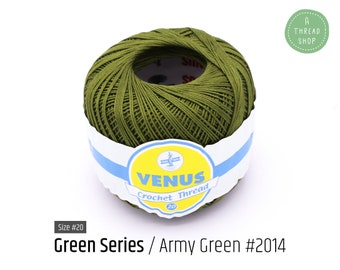 Cotton Thread Size #20 - Army Green #2014 - Green Series - VENUS Crochet Thread - 100% Mercerized Cotton Thread