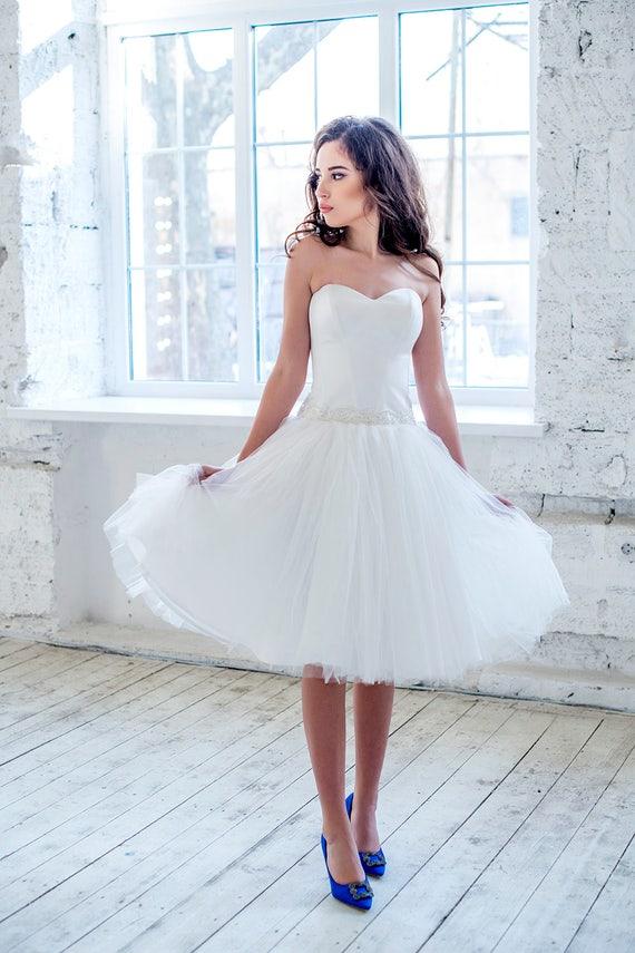 kurze trägerlosen Brautkleid Brautkleid Tee Länge