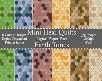Earth Tone Mini HexiQuilts Digital Patterned Paper Pack