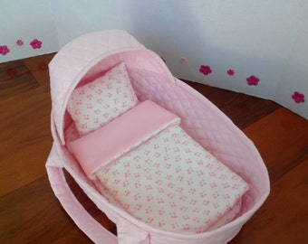 Doll Moses Basket | 14 Inch Doll Bed | Fits 12, 13 Inch Dolls | Cotton Doll Carrier Basket | Pink Doll Bed |