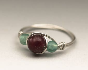 Lepidolite & Neon Apatite Gemstone Sterling Silver Wire Wrapped Ring - Made to Order, Ships Fast!