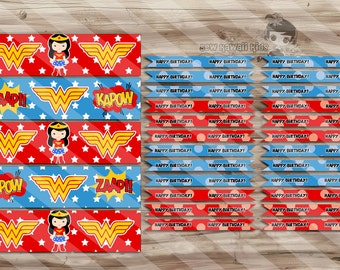 Wonder Woman Birthday Water Bottle Wraps & Straw Flags, Wonder Woman Birthday, Party Supplies - Digital JPG Files, INSTANT DOWNLOAD