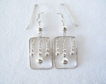 Silver Square and Round Earrings