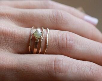Raw Diamond Ring Set   14k Gold Ring Set    Nature Inspired Rings
