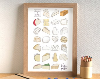 Cheese Alphabet Print - Cheese Art - Cheese Print - Kitchen Art - Kitchen Print - gift for cheese lover - cheese gift - Alphabet of Cheese