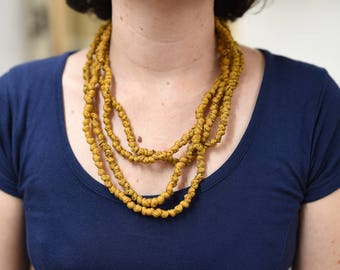 Fabric Pearls - gold speckled necklace