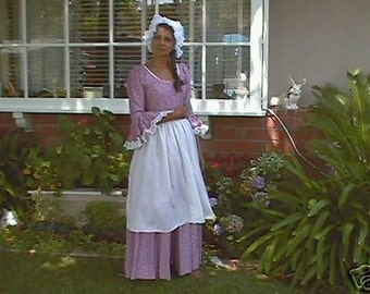 3 pc colonial women dress pilgrim dress historical dress american dress made to measurement size 12-14