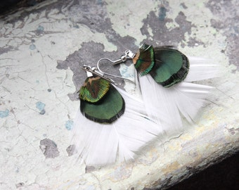 White and Green Triple Feather Earrings for every day wear and a natural look