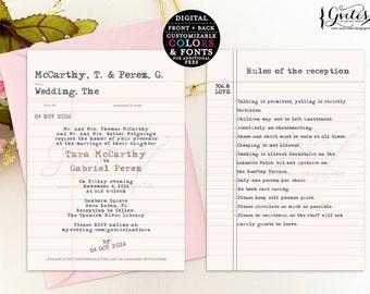 Library card wedding invitation, library wedding invitations, book theme invitation printable, digital book wedding theme {You Print}