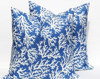 Blue Pillow Outdoor Pillow Cover Outdoor Pillows Blue Pillow Cover Toss pillow Accent Pillow  FINAL SALE  TWO 16x16 Decorative Pillow