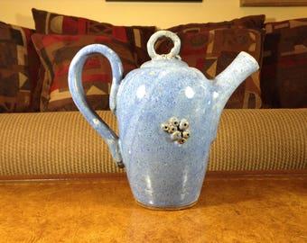 Blue Hand Thrown White Stoneware Teapot or Coffee Pot