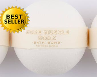 Sore Muscle Soak Bath Bomb - All Natural Bath Bomb - Essential Oil Bath Bomb - Aromatherapy Bath Bomb - Stocking Stuffer