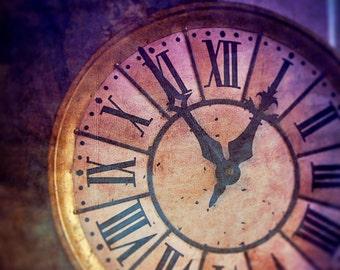 Clock Photo, Ticking, Time, Fine Art Photography, Purple, Magical, Surreal Wall Art, Roman Numeral Display, Fairytale, Home Decor, Print