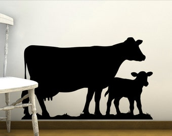 Nursery Wall Decor Farm Animals, Baby Animal Wall Decal, Vinyl Wall decal Dairy Cow Calf, Barnyard Animal Wall Sticker (0179c65v)