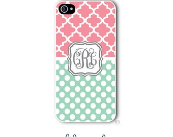 Polka Dots Phone Case Monogram iPhone 6 Case Coral  Mint iPhone 6s Case Samsung Galaxy S5 S6 Case iPhone 5 iPhone 6 Plus iPhone 5c Style 251