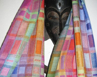 YOUR CUSTOM ORDER  Handwoven Geometric Silk Shawl, Hand Dyed Doubleweave, Accessories by Tisserande