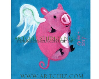 Flying Pig. PiG Art. Art Print. Cute Pink PiG. White Wings.  Sapphire Blue. Baby Shower Gift. Children's illustration. Kids art. Poster