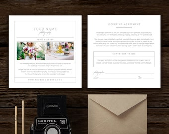 Photography Forms - Print Release Template for Photographers - Photo Marketing - Digital Photoshop Templates