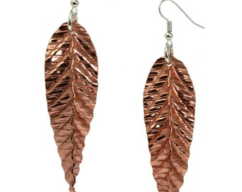 Corrugated Fold Formed Copper Leaf Earrings - Makes a Great 7th Wedding Anniversary Gift!
