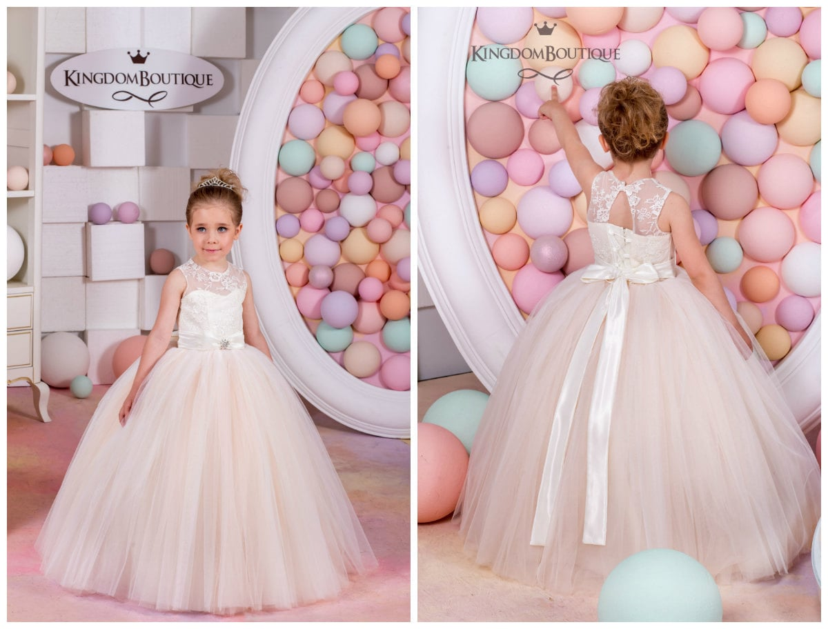 Ivory and Blush Lace Tulle Flower Girl Dress Wedding Party