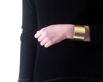 Wide Bronze Cuff Bracelet, Simple Minimalist Bracelet, Arm Cuff, Golden Bracelet, Golden Jewelry, Elegant Bracelet, Large Golden Bracelet