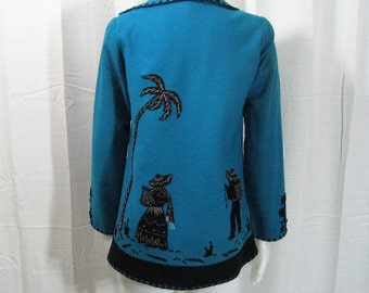 40s 50s Jacket Mexican Souvenir Vintage, Turquoise Blue & Black Wool Felt Applique + Embroidery Peasants Palms Cactus, Garcia Leal, Bust 32