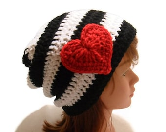 Heart Hat, Valentines Day, Black and White Hat, Girls Hats, Hipster Beanie, Slouchy Heart Hat, Womens Hats, Gifts for Her, Love Hat