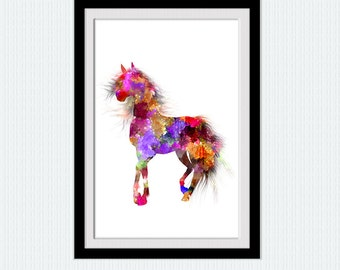 Multicolor horse poster Horse watercolor print Animal art decor Stallion art print Home decoration Kids room decor Animal art poster W685