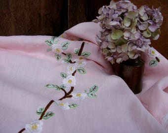 French Tablecloth, Floral Tablecloth, Pink Tablecloth, Embroidered Tablecloth, Vintage Tablecloth, French Linens, French Decor, French Home