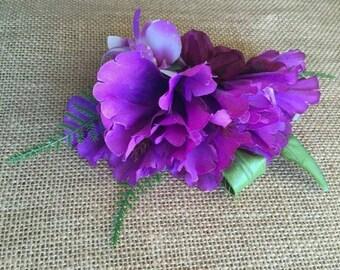 Tropical hair clip, hibiscus hair clip, purple hibiscus hair clip, hibiscus with orchid on baby ferns hair clip, hula hair accessory
