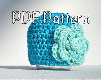 PATTERN:  Cotton Blossom Baby Hat, easy crochet PDF, Sizes Newborn to Adult, flower beanie, InStAnT DoWnLoAd, Permission to Sell