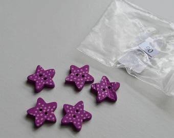 Purple Star set 90 wooden 5 buttons