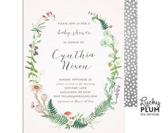 Wildflower Baby Shower Invitation / Greenery Baby Shower Invitation / Couples Coed Garden Botanical Wild Flower / Digital Printable WF01