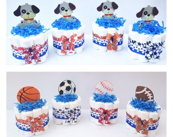 Sports Diaper Cake, Baseball Diaper Cake, Football Diaper Cake, Boys Diaper cake,  Mini Sports Baby Shower Centerpiece