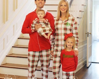 Adult Plaid Christmas Pajamas, Personalized Matching Holiday PJs  - PRE ORDER 1 - Monogram Included