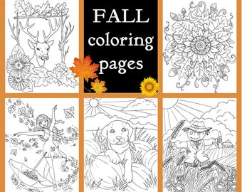 FALL coloring pages,adult coloring,printables,pdf,5 PAGES