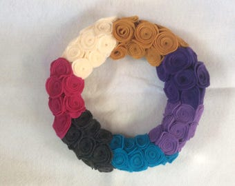 Colorful Felt Fabric Rosettes Wreath