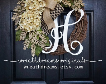 BEST SELLER! Cream Hydrangea Wreath. Year Round Wreath. Spring Wreath. Summer Wreath. Door Wreath. Grapevine Wreath.