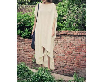 Free Style Asymmetrical Linen Long Dress/Pleated/ Asian Style Summer Dress/ 28 Colors/ RAMIES