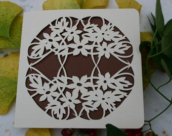 Card - cut - flowers and leaves