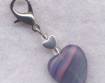 Midnight Heart Stitch Marker Clip Stripey Navy Blues Heart Single /SM216H