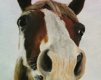 Horse head. Oil pastels. Size A4. Free shipping