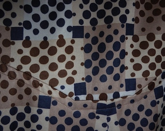 DRESS VINTAGE 1960 1970 short sleeves, geometric, original vintage pattern, beige and black