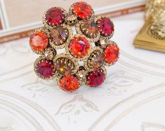 Vintage Rhinestone Brooch - Austrian Crystal Jewelry - Statement Pin for Autumn Wedding - Crystal Pendant - Fall Jewelry Gift For Her - OOAK